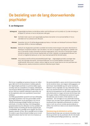 Artikel van Bodegraven in Tijdschrift voor Psychiatrie juli/aug 2021