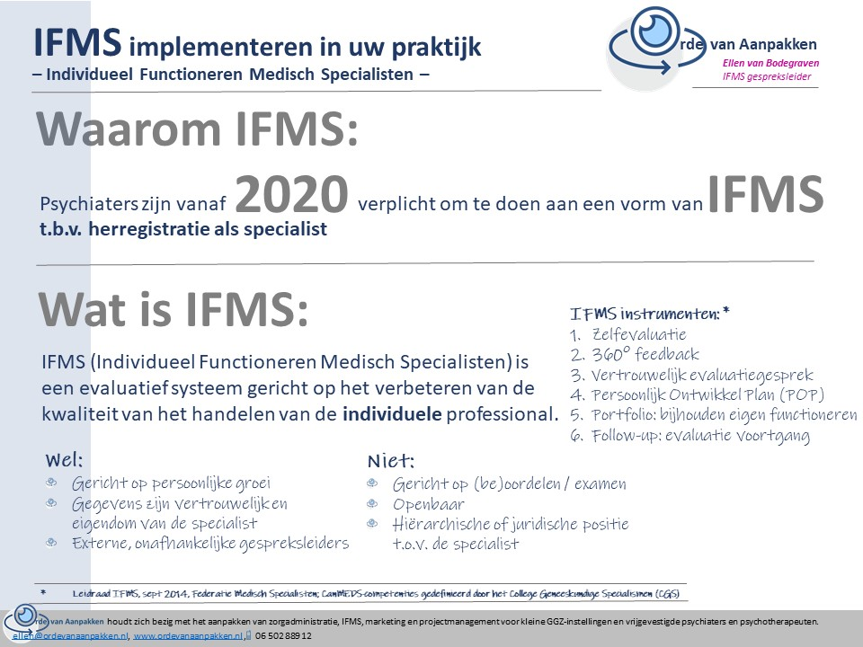 Wat en waarom IFMS GGZ Orde van Aanpakken